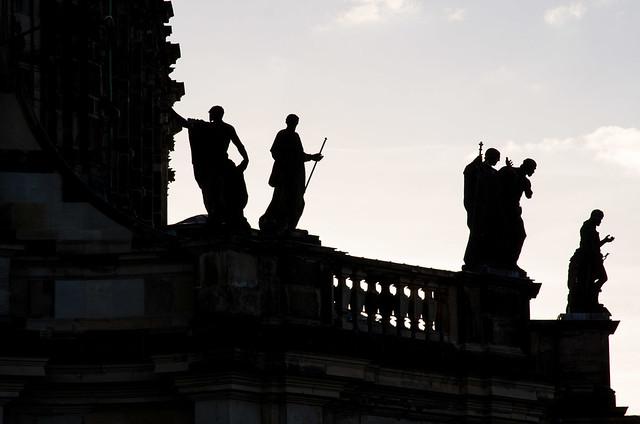 Altstadt Dresden im Sonnenuntergang