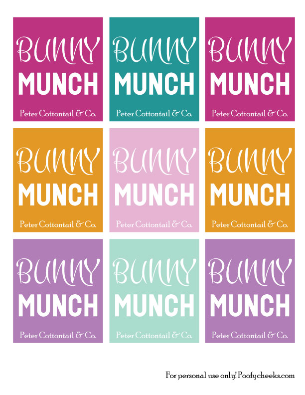 Bunny Munch Easter Tag Printables - 6 colors