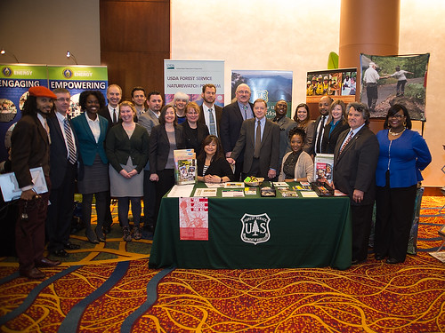 Deputy Under Secretary for Natural Resources and Environment Butch Blazer (9th from right) along with Tony Tooke, Associate Deputy Chief, National Forest System (8th from right); with USDA Forest Service employees at the 2014 Environmental Justice Conference in Washington, D.C. USDA photo by Bob Nichols