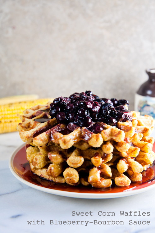 Sweet-Corn-Waffles-with-Blueberry-Bourbon-Sauce