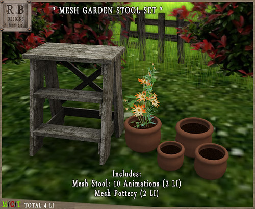 PROMO 55L ! *RnB* Mesh Garden Stool Set - 10 Anims - Aged White 2