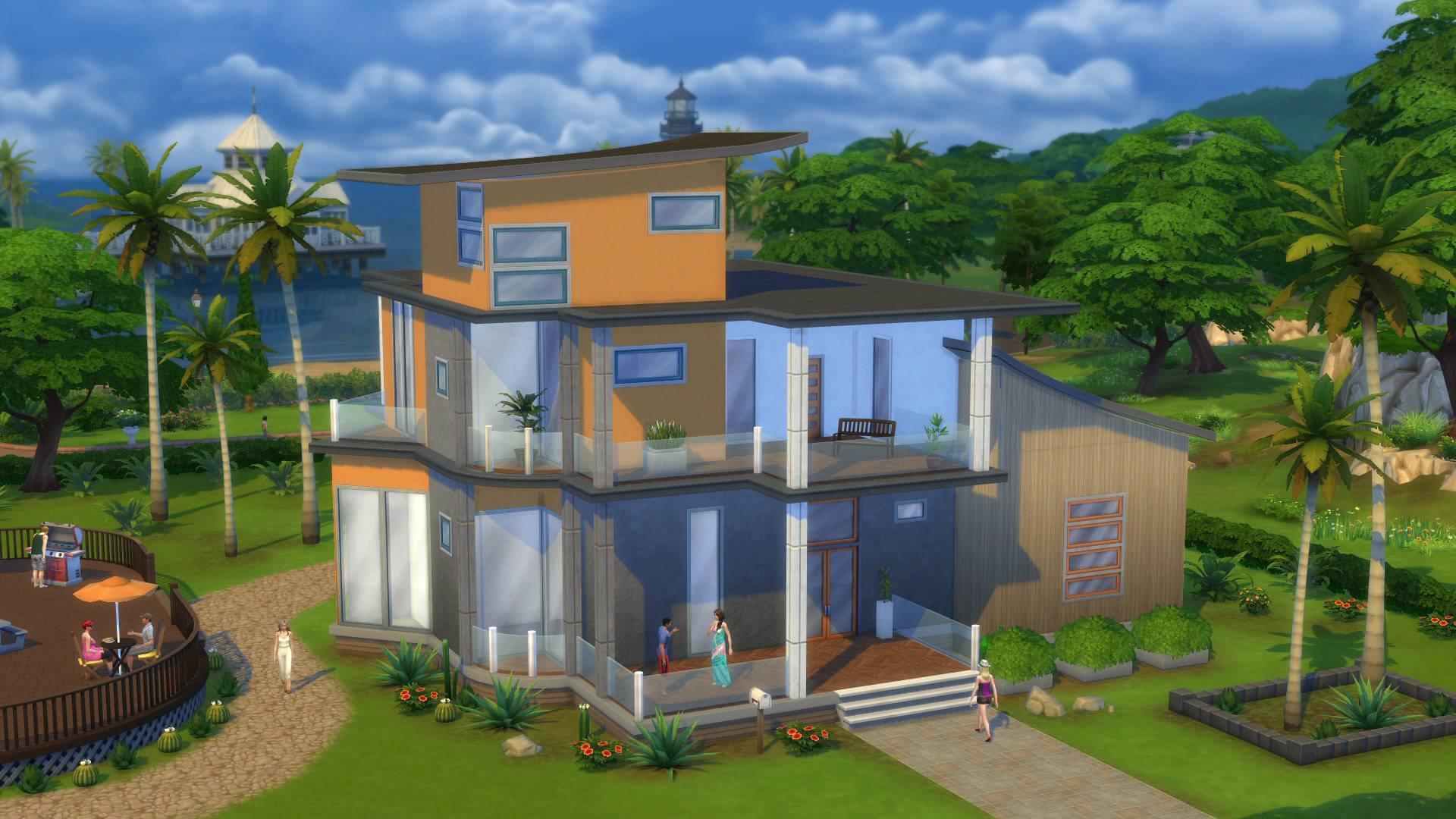 Construcci n sobre agua y difuminado en los sims 4 nueva Casas modernas sims 4 paso a paso