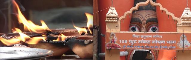 108 फुट संकट मोचन धाम (108 Foot Sankat Mochan Dham) second highest Hanuman statue in the world founded by Brahamleen Nagababa Shri Sevagir Ji Maharaj (25 Jan, 2008) near Jhandewalan metro station. A Siddha Shri Shani Dev Mandir is also attached with main premises.