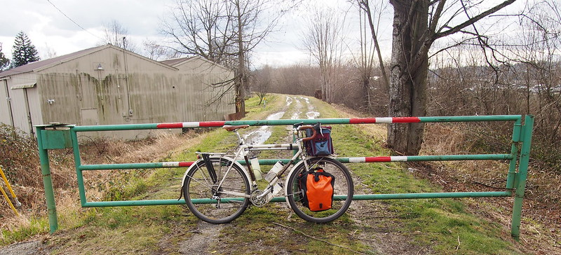 Abandoned Green River Trail ROW: Blocked off by a gate at one end and waterlogged.