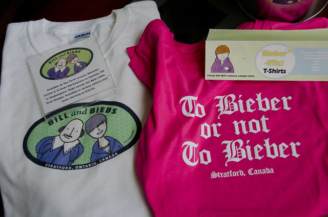 Shakespeare and Bieber-themed T-shirts for sale in Stratford, Ontario