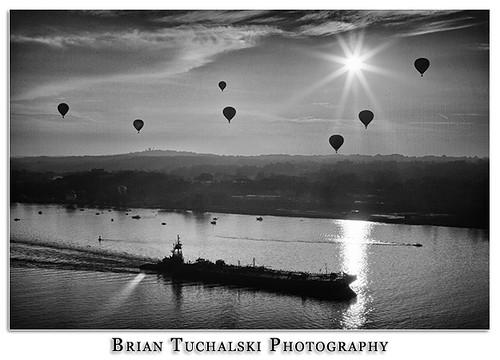 new york morning ny hot sunrise river dawn air balloon upstate hudson barge