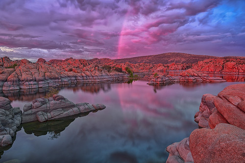 sunset arizona usa color reflection nature water crimson landscape nikon rocks day desert cloudy le nd geology prescott watsonlake americansouthwest
