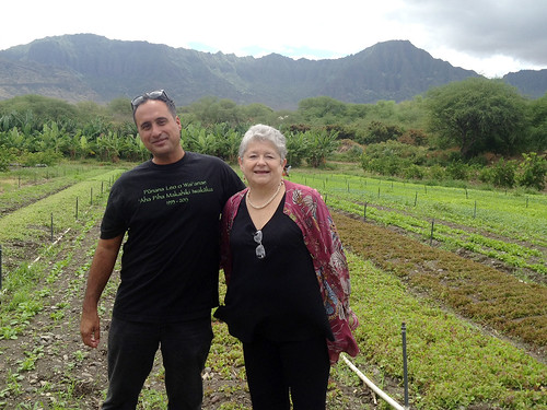 <p>MA'O Organic Farms Director of Social Enterprise Kamuela Enos and UH President M.R.C. Greenwood.</p>