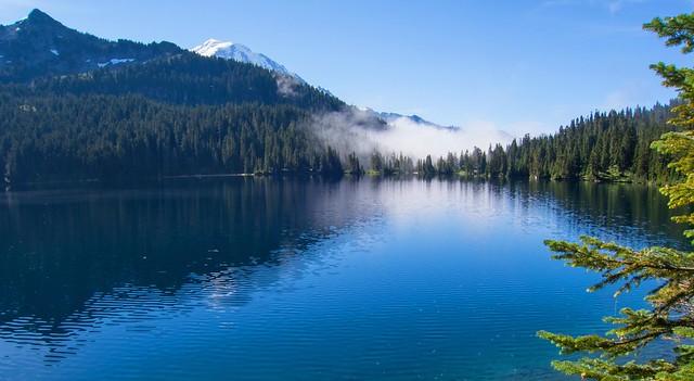 Mowich Lake and Mt Rainier