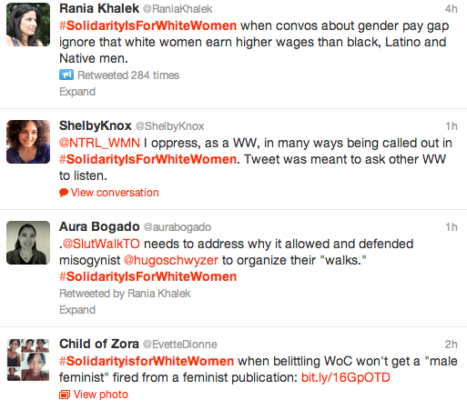 tweets from the #solidarityisforwhitewomen feed