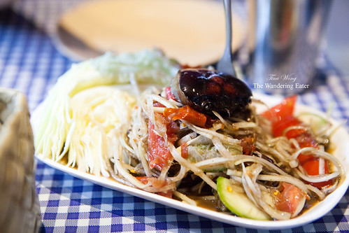 Papaya pok pok salad with salted black crab