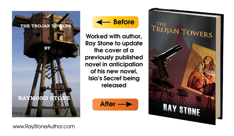 The Trojan Towers book cover (before and after)