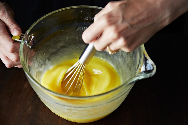 Whisking the eggs