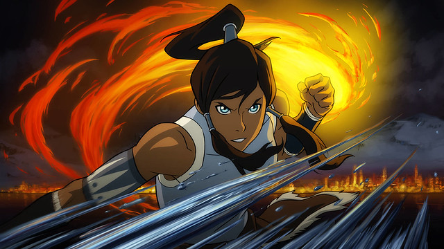 Avatar Korra standing in a tornado of water and fire.