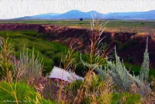 """Agua Fria River, Mingus Mountain in Distance""--digital oil from photo"