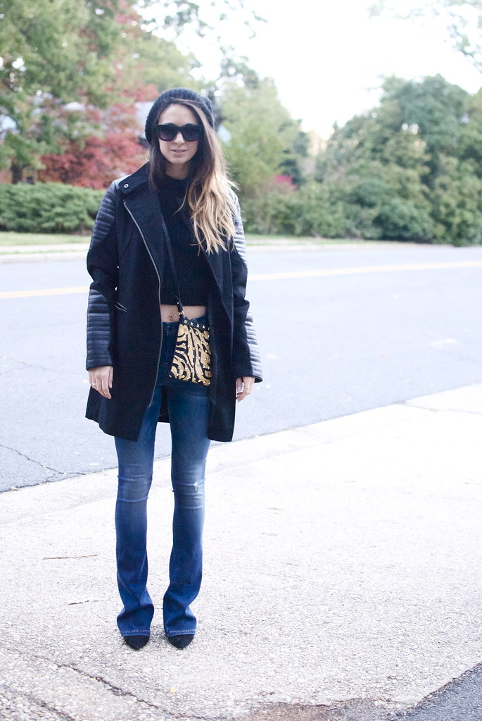 easy fall look, winter coat, leather coat, biker coat, black coat, flare jeans, crop sweater, cropped, crop top, the fashionably broke, dc blog, blogger, style blogger, washington dc