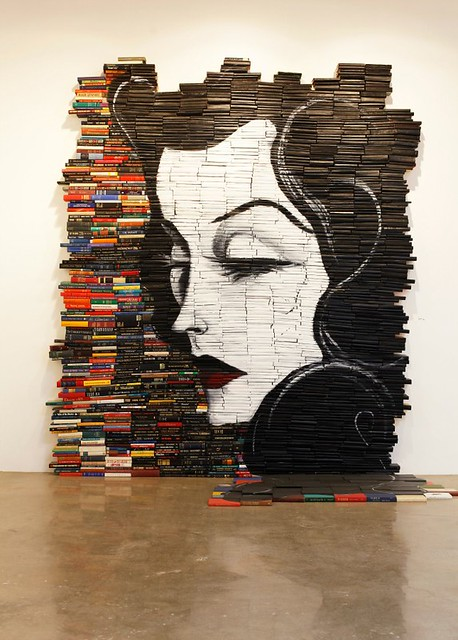 book sculpture installation