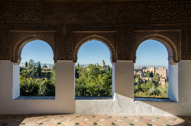 Views of the Alhambra and the city of Granada from the Generalife Gardens.