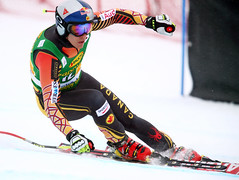 Erik Guay in action during the super-G in Lake Louise, CAN