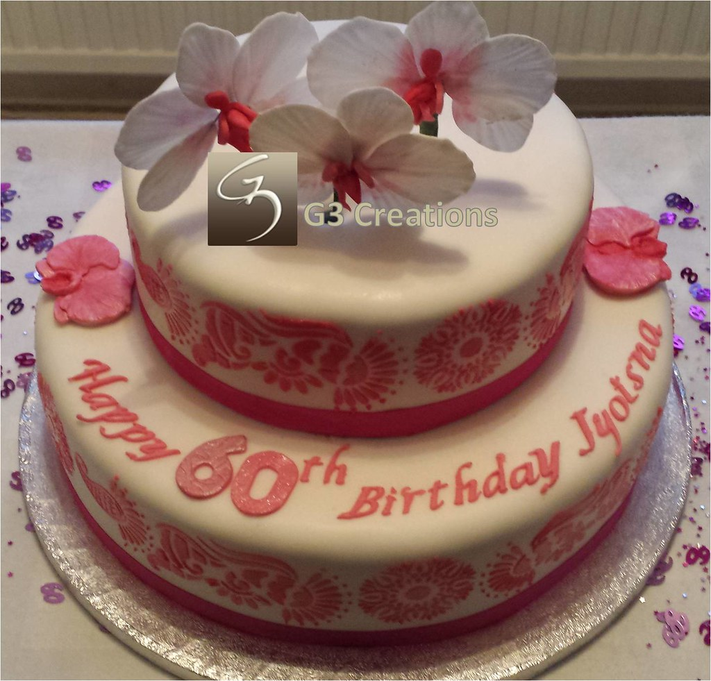2 Tier Orchid 60th Birthday Cake