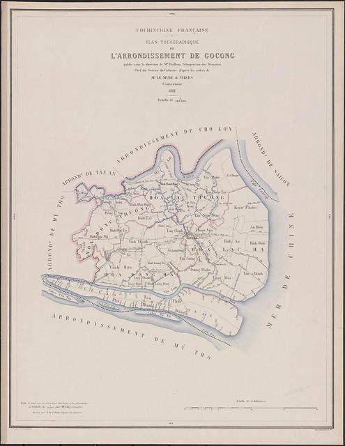 Plan topographique de L'ARRONDISSEMENT DE GOCONG - Bản đồ địa hình Hạt GÒ CÔNG, 1881 - Quê mẹ vua Tự Đức