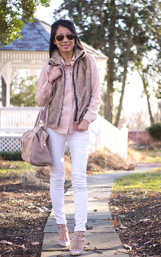 nude blouse, fur vest, white jeans, studded heels