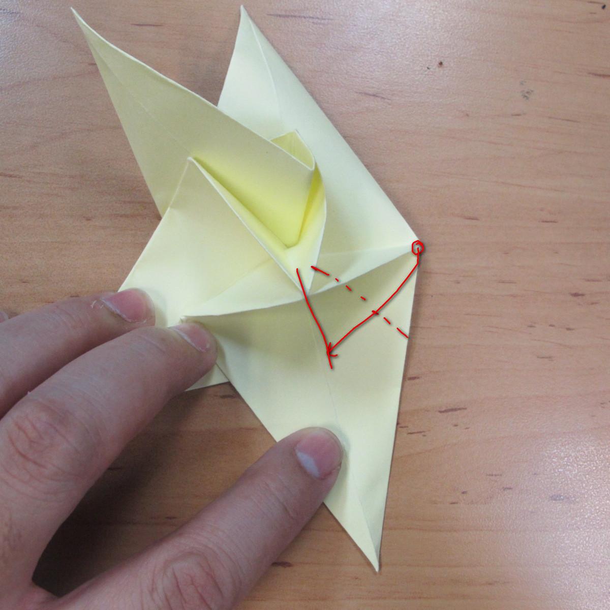 วิธีพับกระดาษเป็นดอกกุหลายแบบเกลียว 028