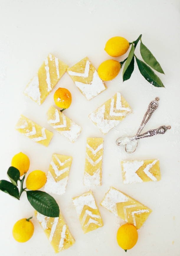 lemon bars recipe, DIY chevron lemon tarts, yellow
