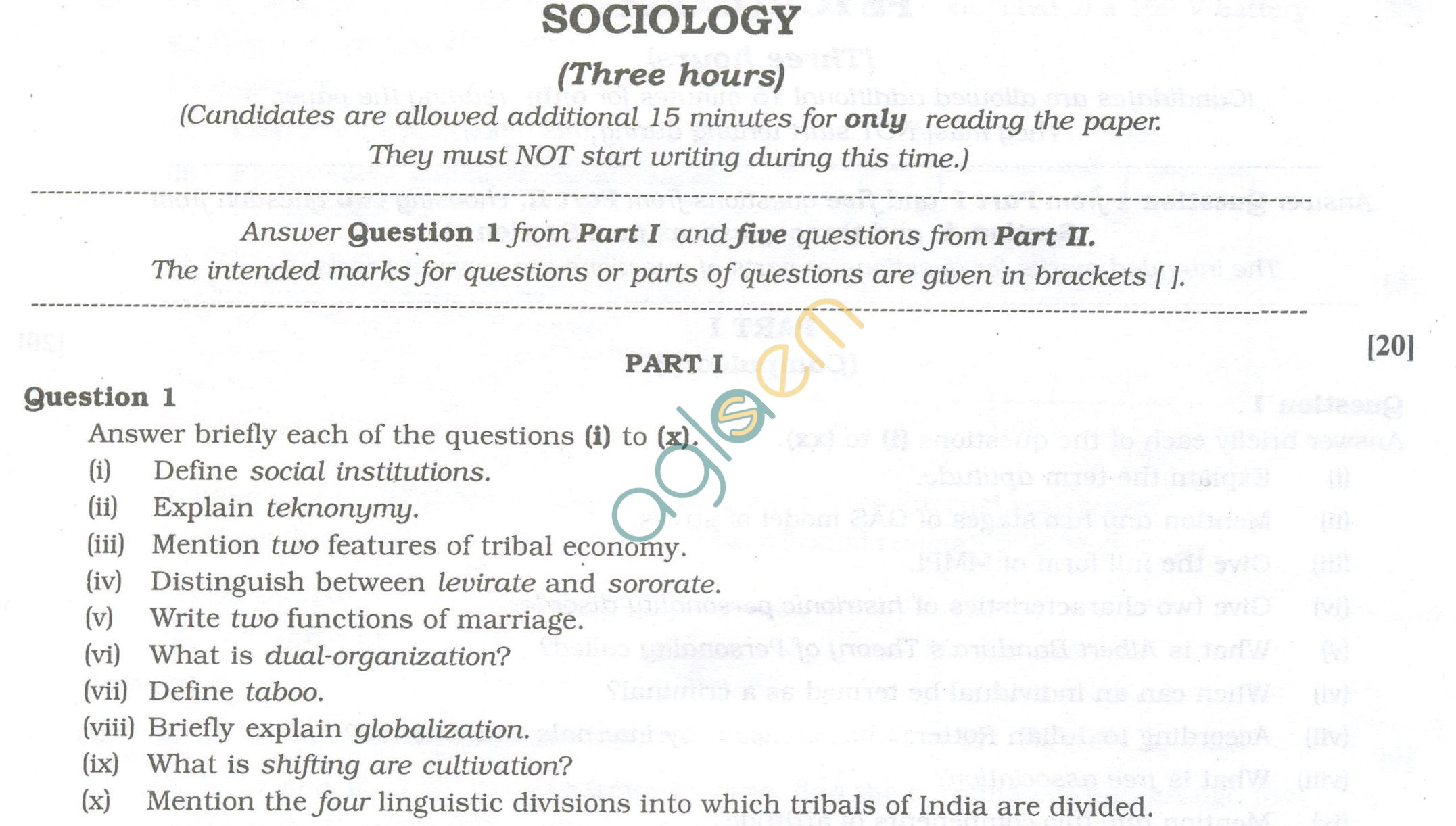 ISC Question Papers 2013 for Class 12 - Sociology