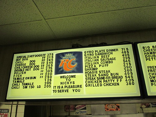 One of the lighted interior menus at Nicky's Gyros on South Archer Avenue.  Chicago Illinois.  Tuesday night, February 25th, 2014. by Eddie from Chicago