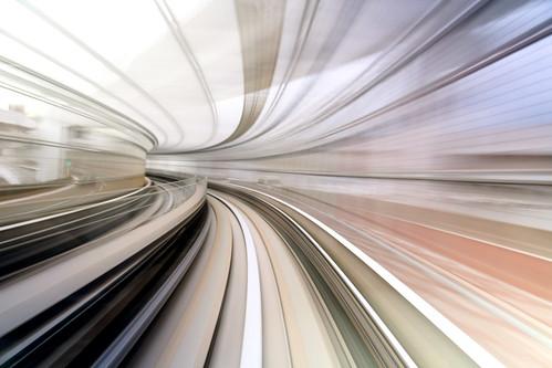 bridge motion blur japan speed train canon aj tokyo rainbow long exposure track view hole mark seat iii rear fast warp driver 5d 東京 odaiba worm monorail 電車 yurikamome お台場 brustein ゆりかもめ 5dm3