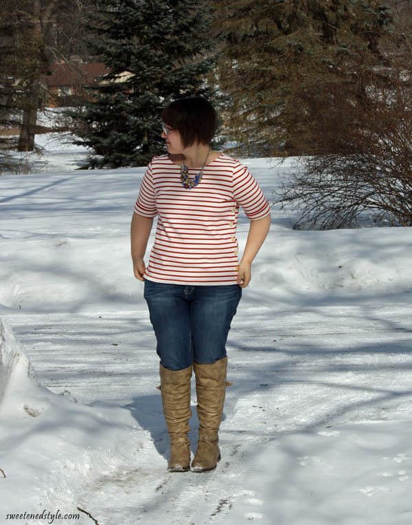red and white striped shirt, statement necklace, skinny jeans, over the knee boots