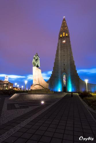 church sunrise reykjavik eglise