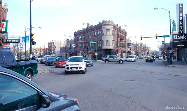 Traffic jam on Milwaukee Ave. during Blue Line track work