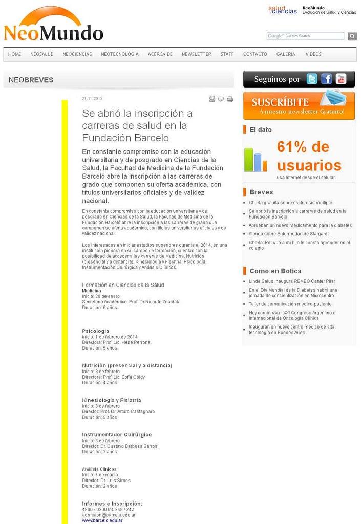Site Neo Mundo (nota) 21-11-13