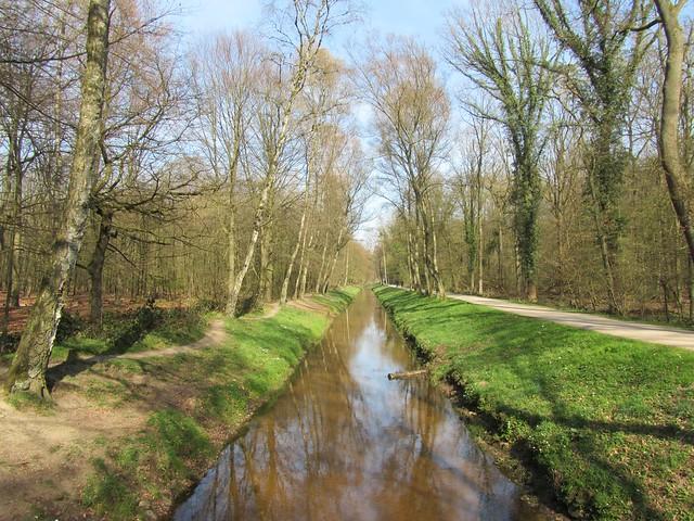 So sehr sich der Rotbach durch die Kirchhellener Heide schlängelt, weiter Richtung Dinslaken geht es schnurgerade