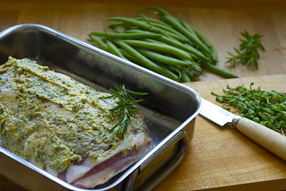 Lamb shoulder with a herb-mustard crust