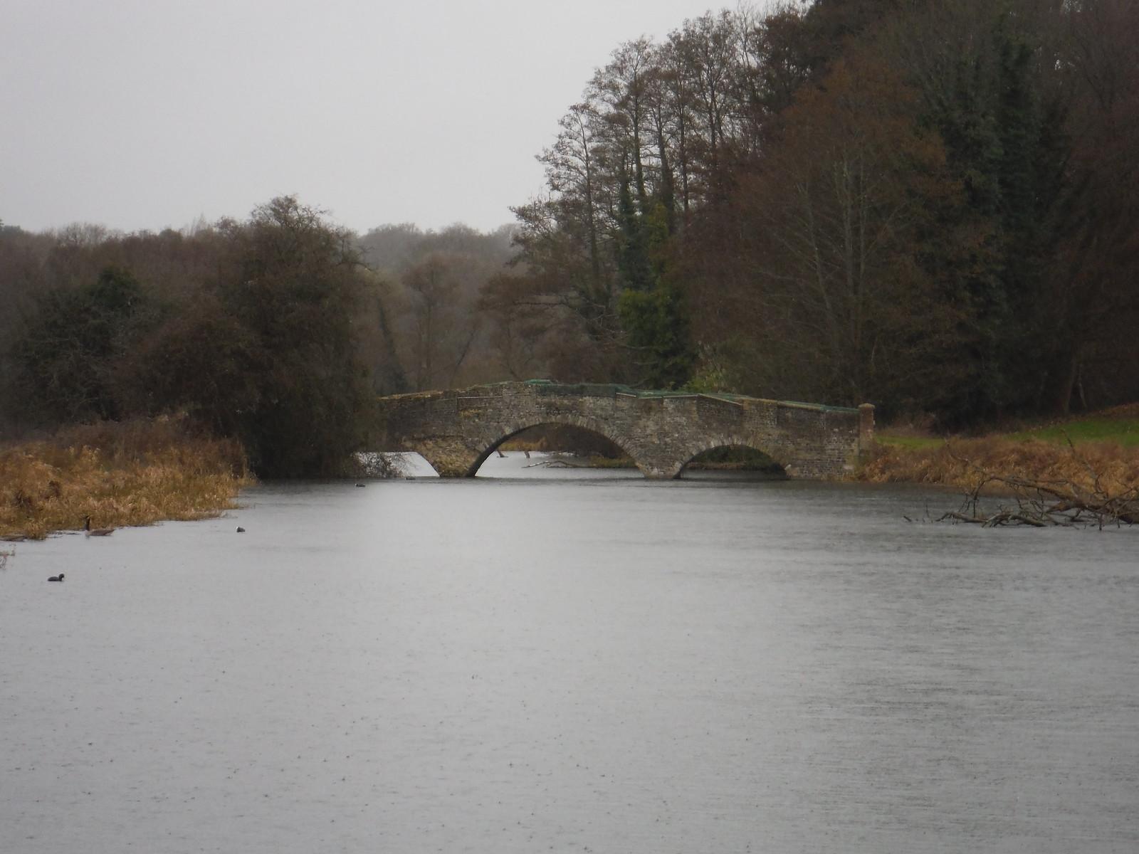 Bridge over Lake by Waverley Abbey House SWC Walk 144 Haslemere to Farnham - Waverley Abbey Extension