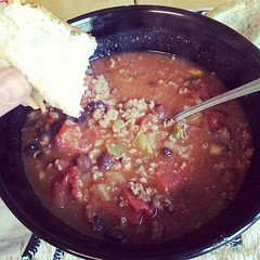 Home made chilli, with freshly baked bread rolls. Yum!