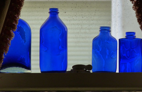 cobalt blue bottles in the window 4-13