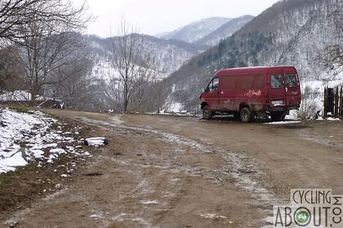 Snowy mountain village in Georgia