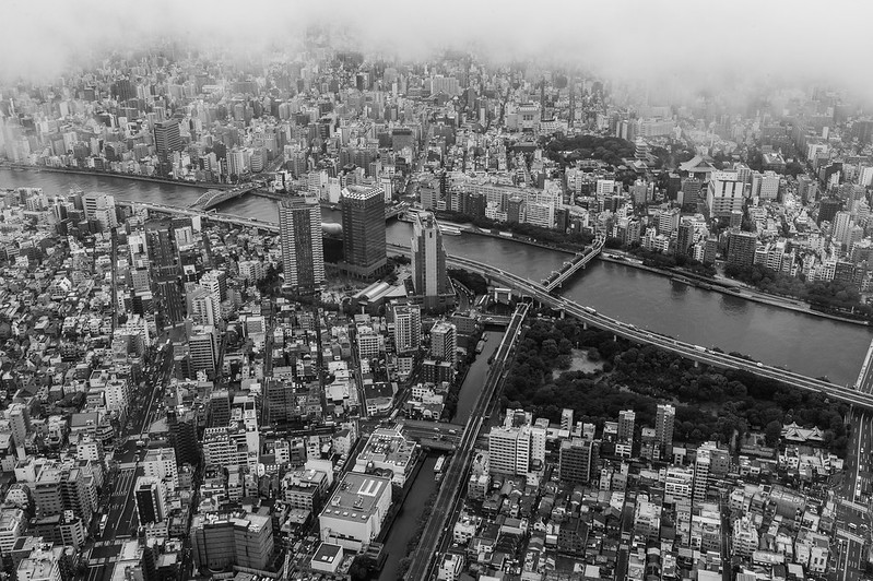 View from Tokyo Skytree - Tokyo shrouded by a thick layer of low lying clouds.