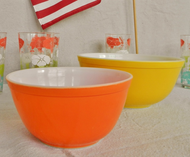 orange and yellow pyrex