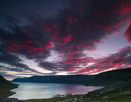 ocean sunset sea summer sky panorama mountain night clouds iceland outdoor sumar myndir sjór vestfirðir westfjords nótt ský haf hafið fjöll fjall sólsetur 2013 arnarfjörður menning ljósmyndaferð sjórinn árstíðir ©jhgphotos
