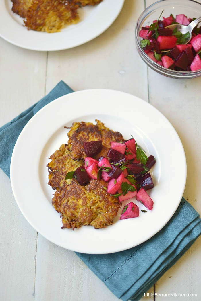 Butternut Squash Latkes with Chunky Apple Beet Salsa via LittleFerraroKitchen.com