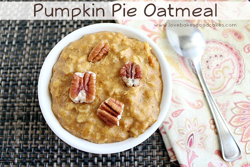 Pumpkin Pie Oatmeal in bowl close up with spoon.
