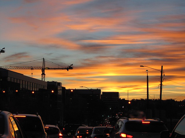 sunset over traffic