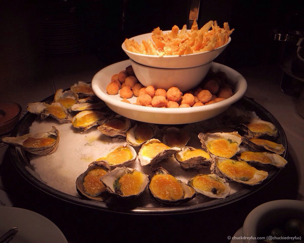 Oysters Rockefeller and Croquettas de Atun
