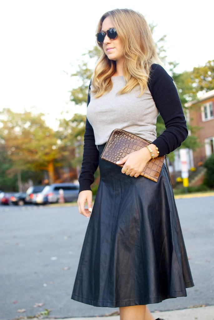faux leather, leather midi, midi skirt, the fashionably broke, dc, style blog, fashion blog