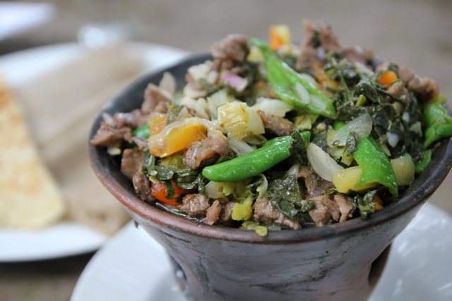 Gomen besiga, an excellent Ethiopian dish